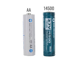 14500 battery size compared to an AA battery