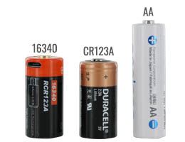 16340 battery size compared to a AA and CR123A batteries