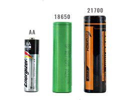 21700 battery size compared to a AA and 18650 batteries