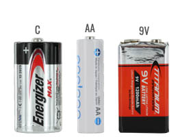 9V battery size compared to a C and AA batteries