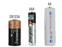 AA battery size compared to a CR123A and AAA batteries
