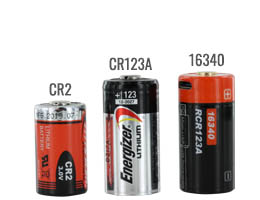 CR2 battery size compared to a 16340 and CR123A batteries