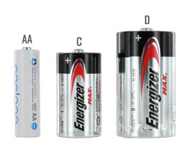 D battery size compared to a C and AA batteries