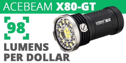 Acebeam X80-GT 98 Lumens Per Dollar