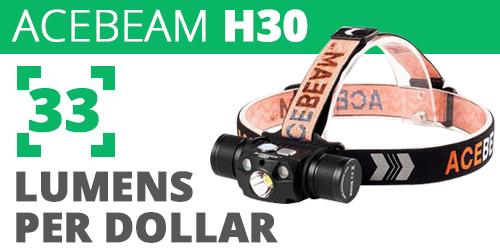 Acebeam H30 33 Lumens Per Dollar